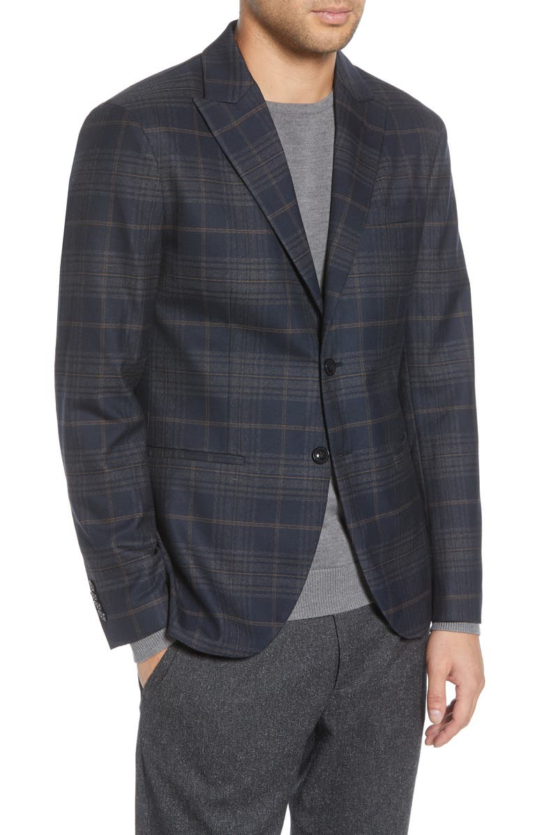 SELECTED HOMME Hove Slim Fit Plaid Blazer, Main, color, DARK SAPPHIRE