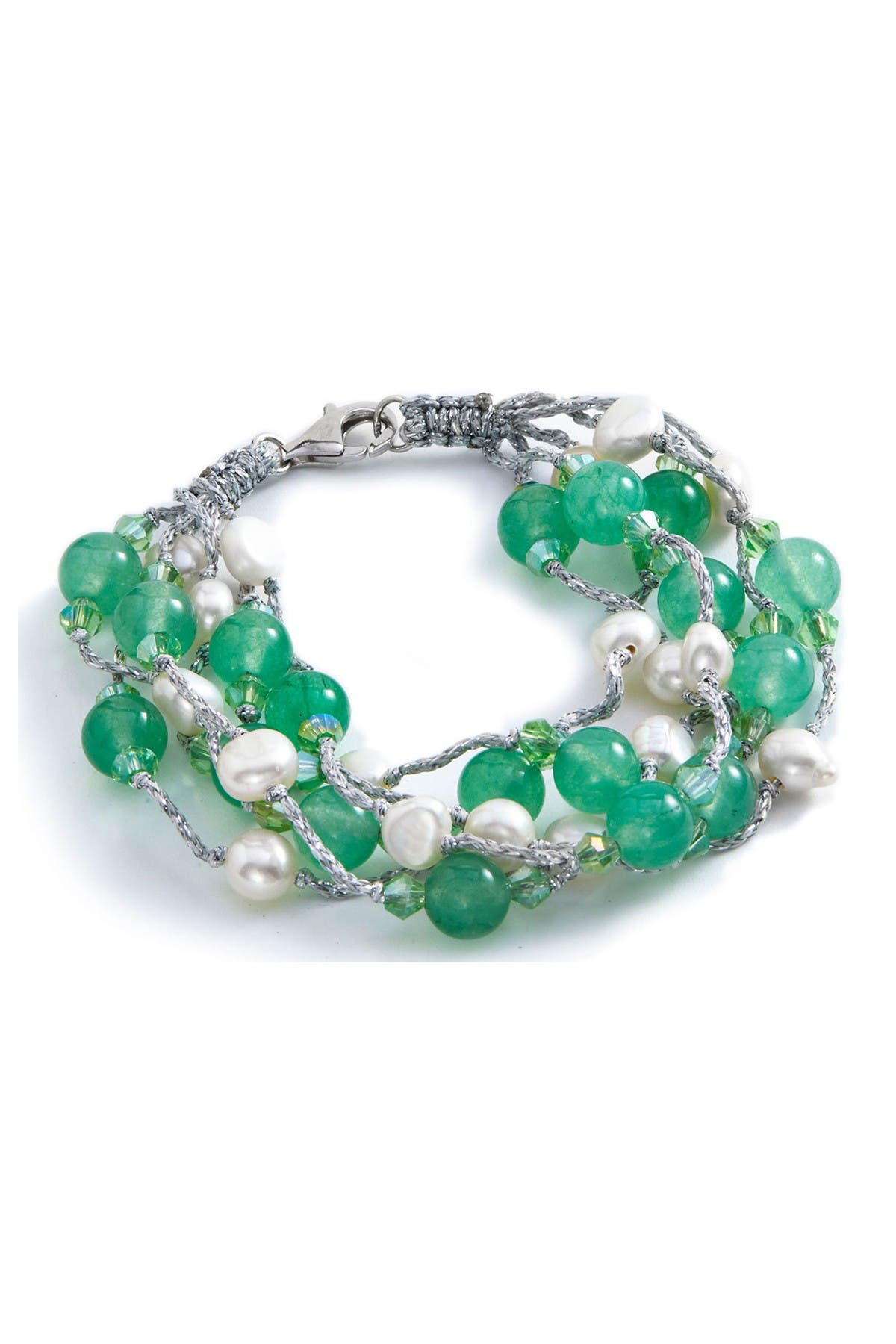 Image of Savvy Cie Sterling Silver Agate & Cultured Pearl Layered Bracelet