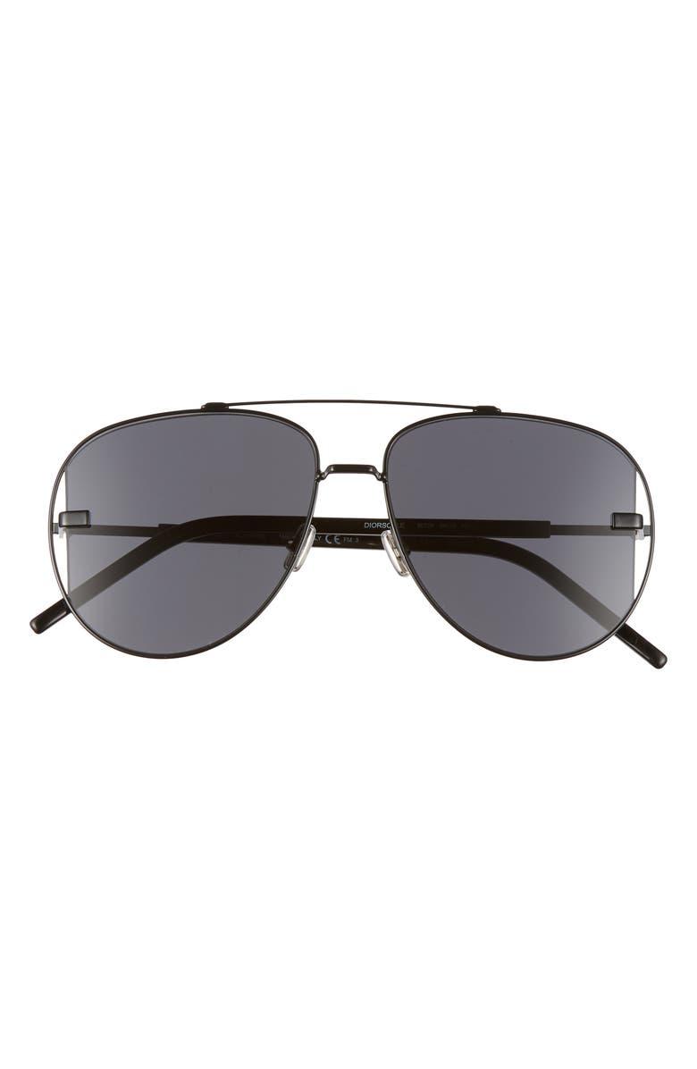 DIOR HOMME Diorscale 58mm Polarized Aviator Sunglasses, Main, color, BLACK