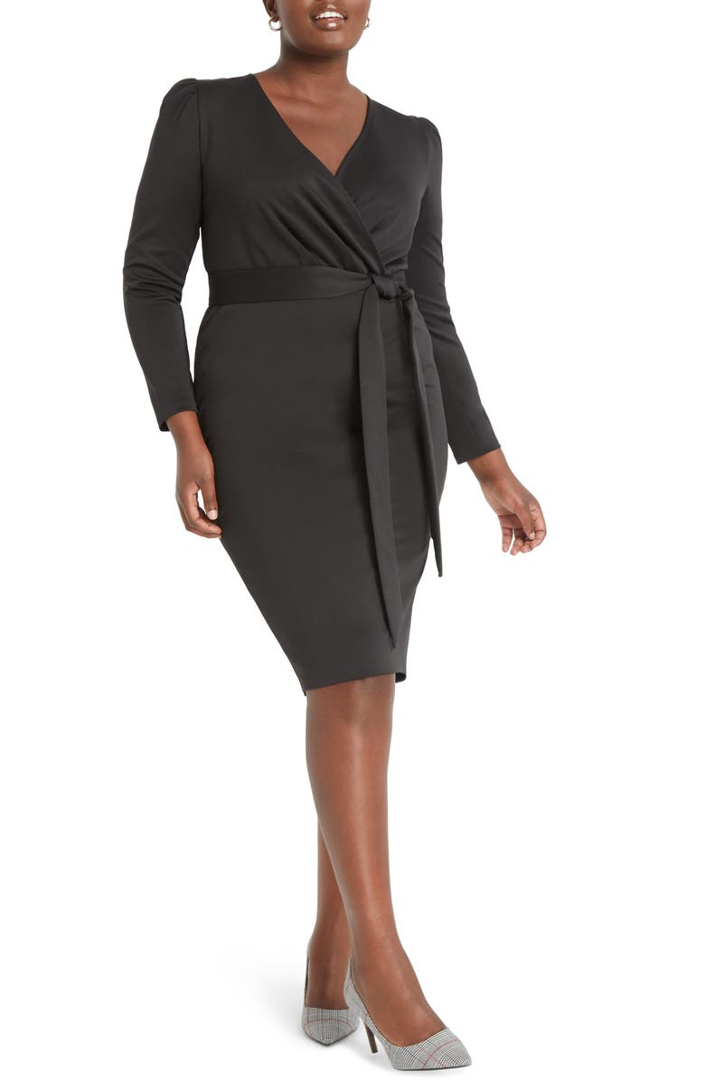 ELOQUII Wrap Front Long Sleeve Sheath Dress, Main, color, BLACK