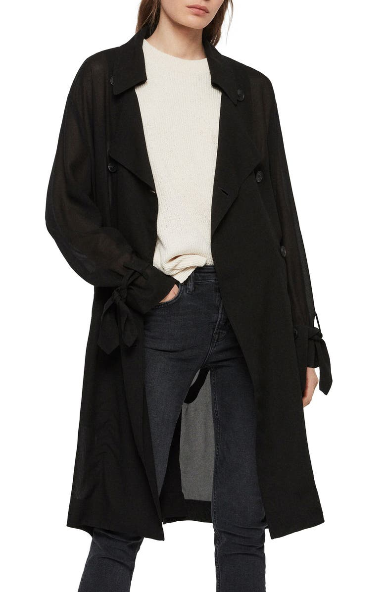 ALLSAINTS Bria Trench Coat, Main, color, 001