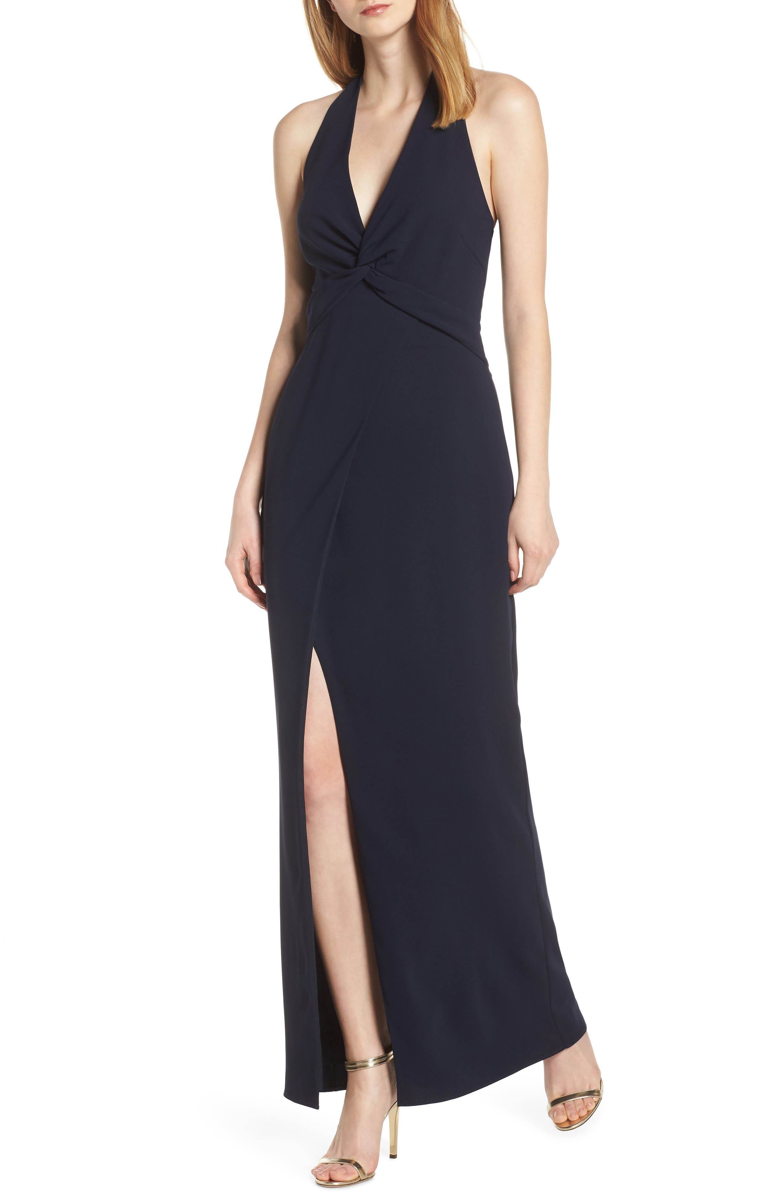 Harlyn Twisted Halter Gown, Blue