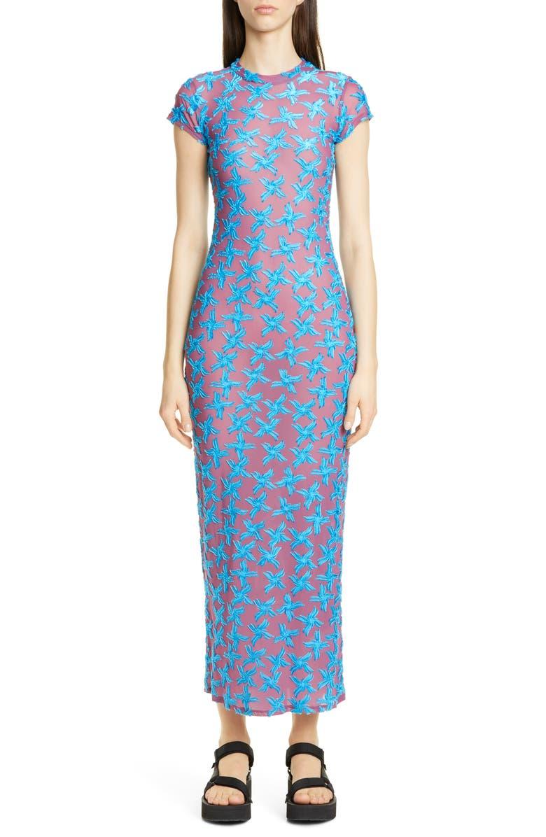 ECKHAUS LATTA Shrunk Floral Burnout Dress, Main, color, 400