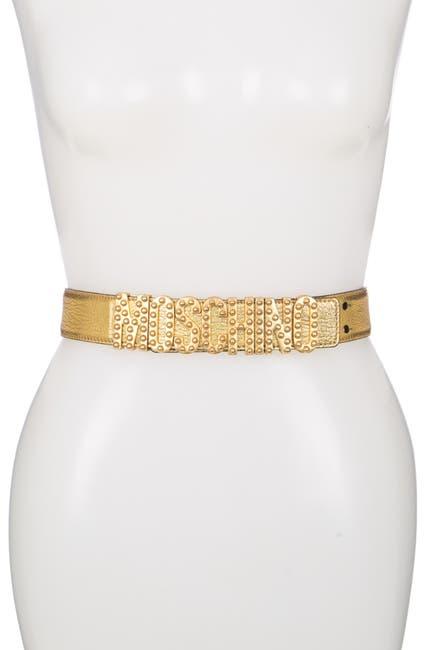 Image of MOSCHINO Thick Leather Studded Logo Belt