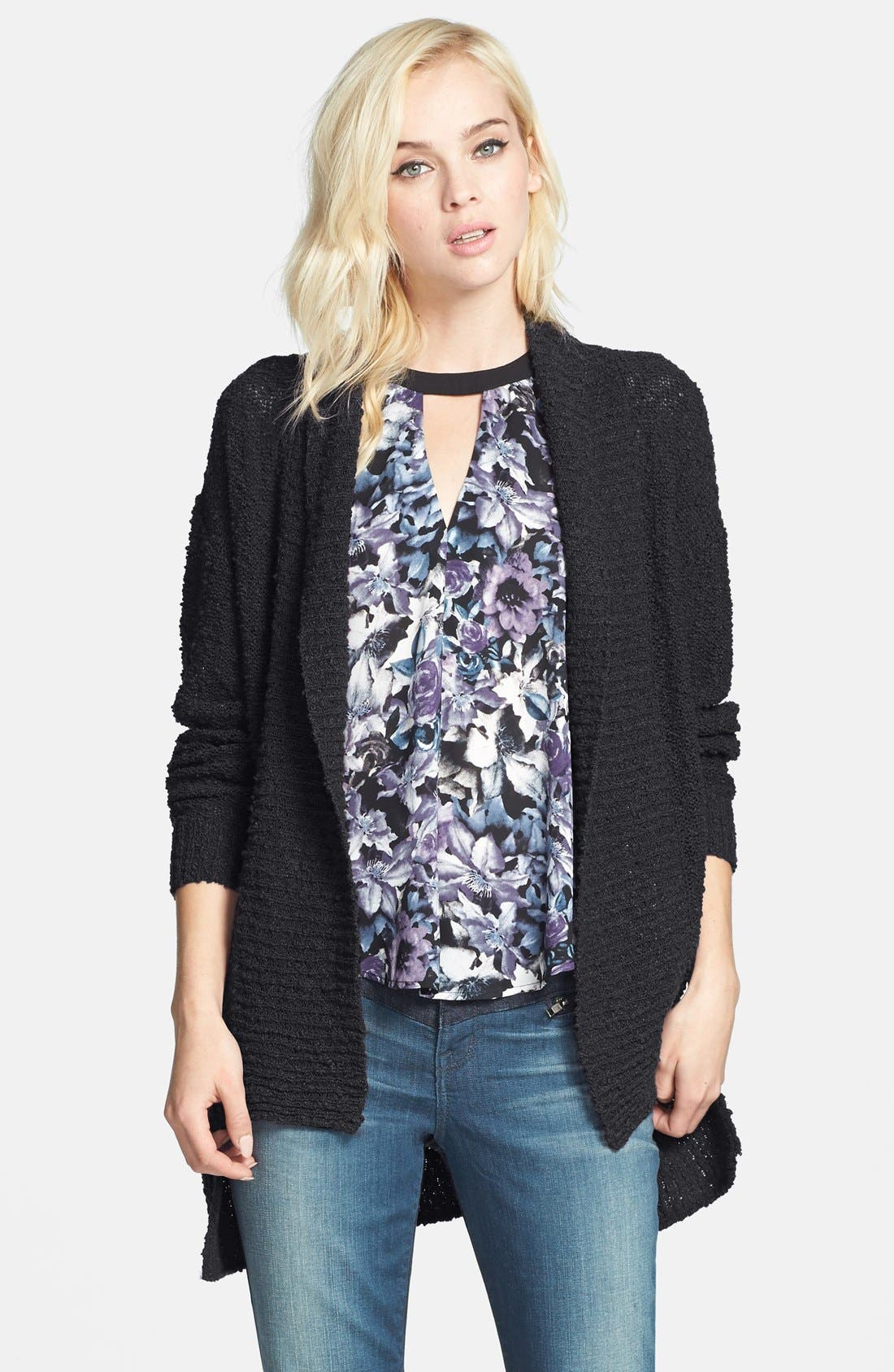 ,                             Textured Open Front Cardigan,                             Alternate thumbnail 2, color,                             001