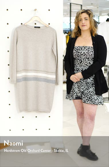 Stripe Long Sleeve Wool Blend Sweater Dress, sales video thumbnail