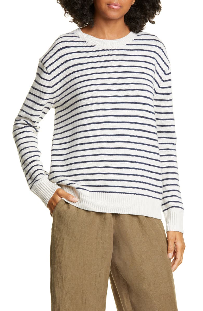 JENNI KAYNE Stripe Crewneck Sweater, Main, color, CREAM/ NAVY