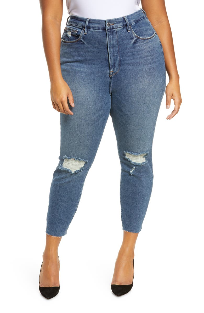 GOOD AMERICAN Good Legs High Waist Raw Edge Crop Skinny Jeans, Main, color, BLUE533