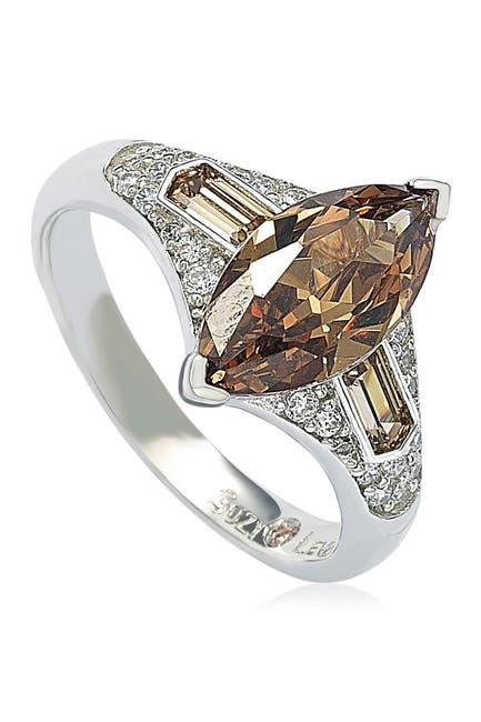 Image of Suzy Levian Sterling Silver Brown CZ Marquise Ring