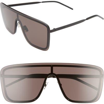 Saint Laurent 9m Flat Top Shield Sunglasses - Semi Matte Black/ Black