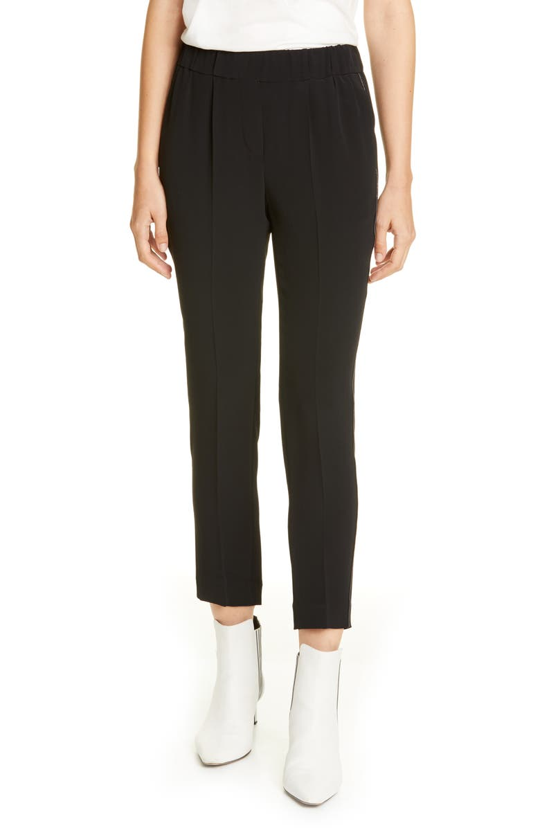 BRUNELLO CUCINELLI Monili Trim Pull-On Ankle Pants, Main, color, BLACK