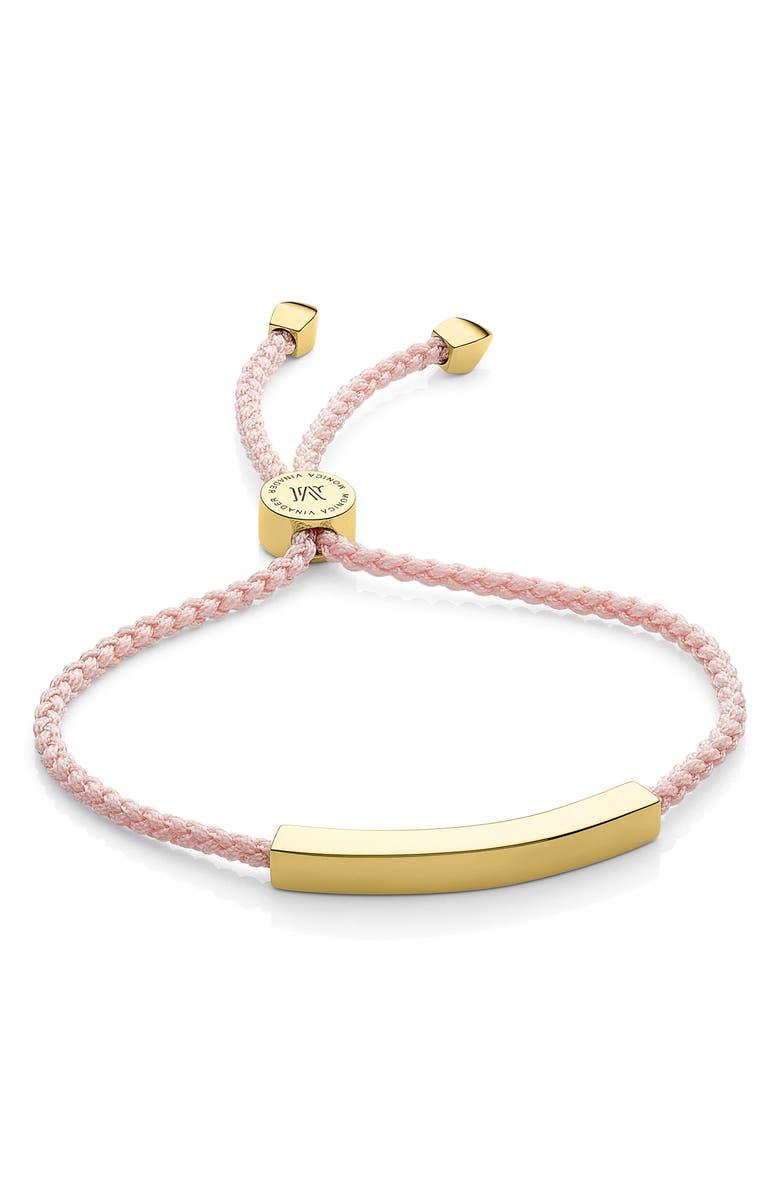 MONICA VINADER Engravable Linear Bar Friendship Bracelet, Main, color, GOLD/BALLET PINK