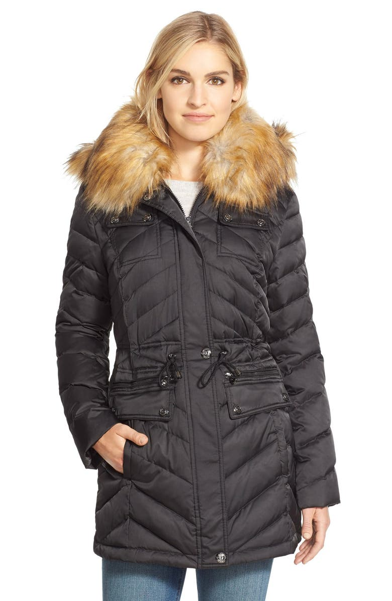 LAUNDRY BY SHELLI SEGAL Laundry by ShelliSegalBelted Down & Feather FillUtility Parka with FauxFur Trim, Main, color, 001