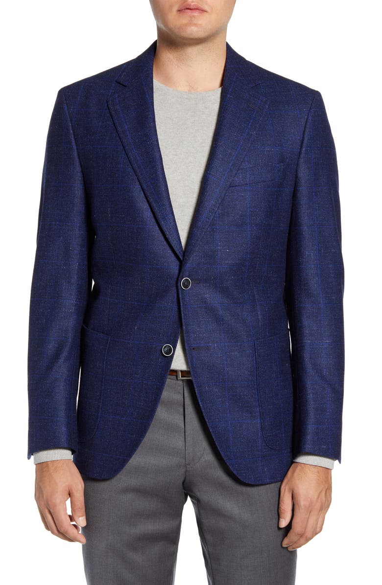 PETER MILLAR Hyperlight Classic Fit Windowpane Wool & Linen Sport Coat, Main, color, NAVY
