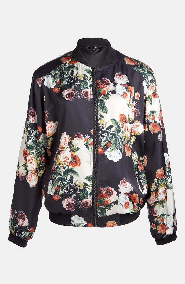 LMK Floral Print Baseball Jacket, Main, color, 001