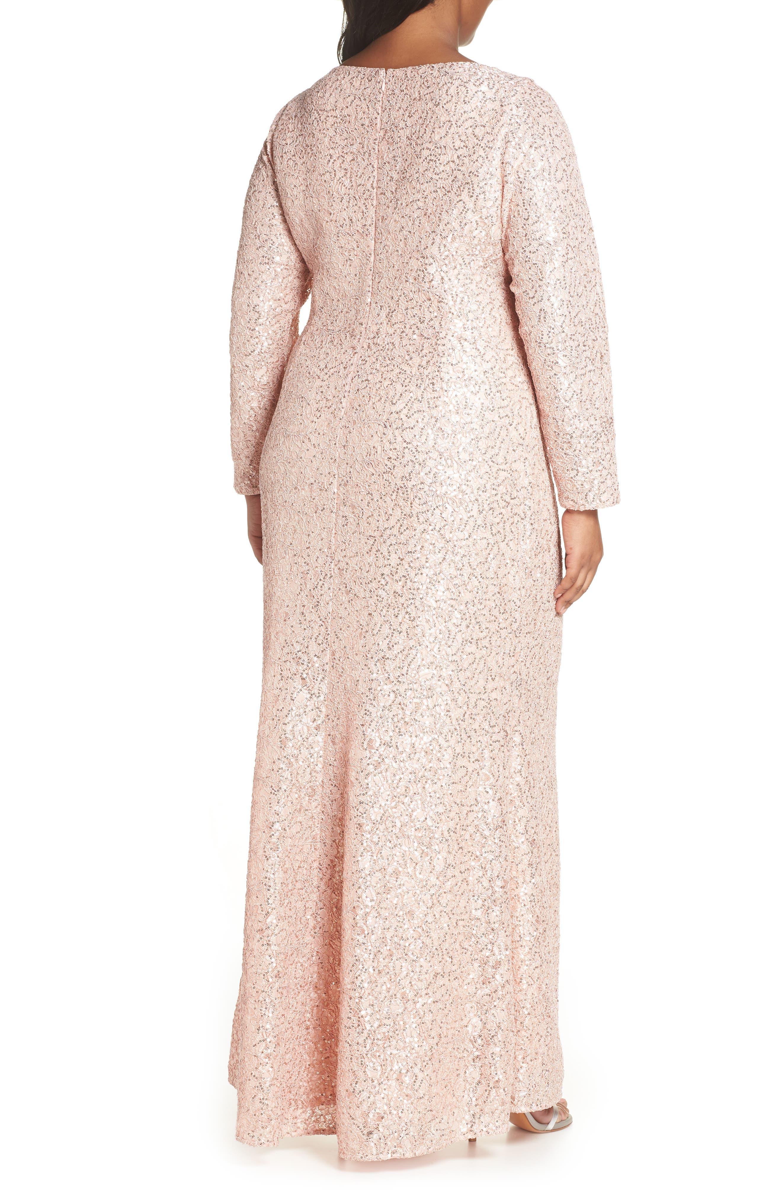 ,                             Sequin Lace Evening Dress,                             Alternate thumbnail 2, color,                             BLUSH