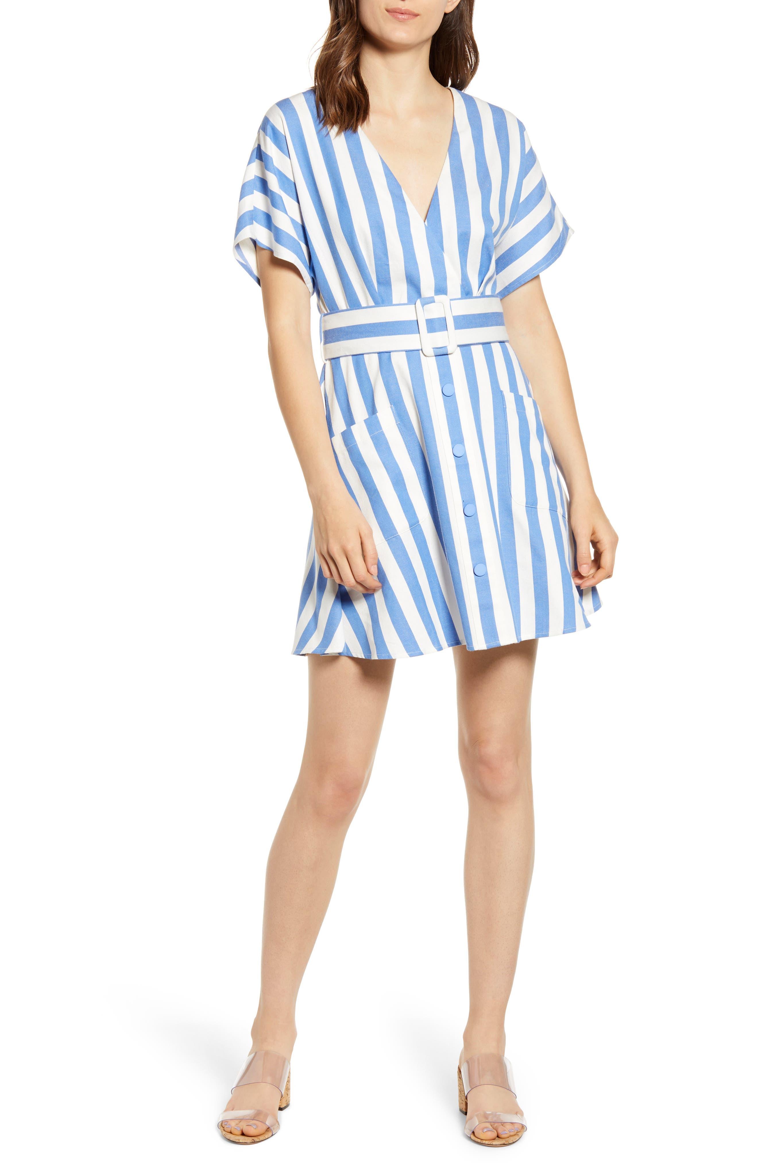 Moon River Stripe Belted Minidress, Blue
