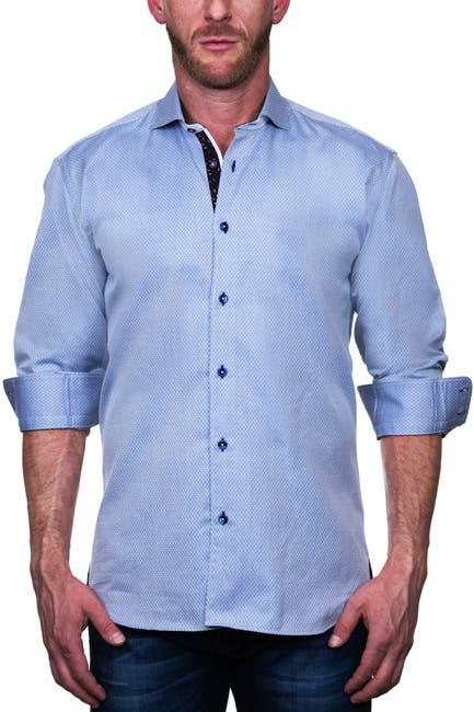 Image of Maceoo Einstein Micro Diamond Print Shaped Fit Shirt