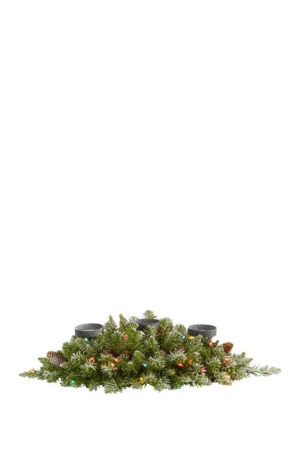 "Image of NEARLY NATURAL 30"" Flocked Light-Up Artificial Pinecone Christmas Triple Candelabrum"