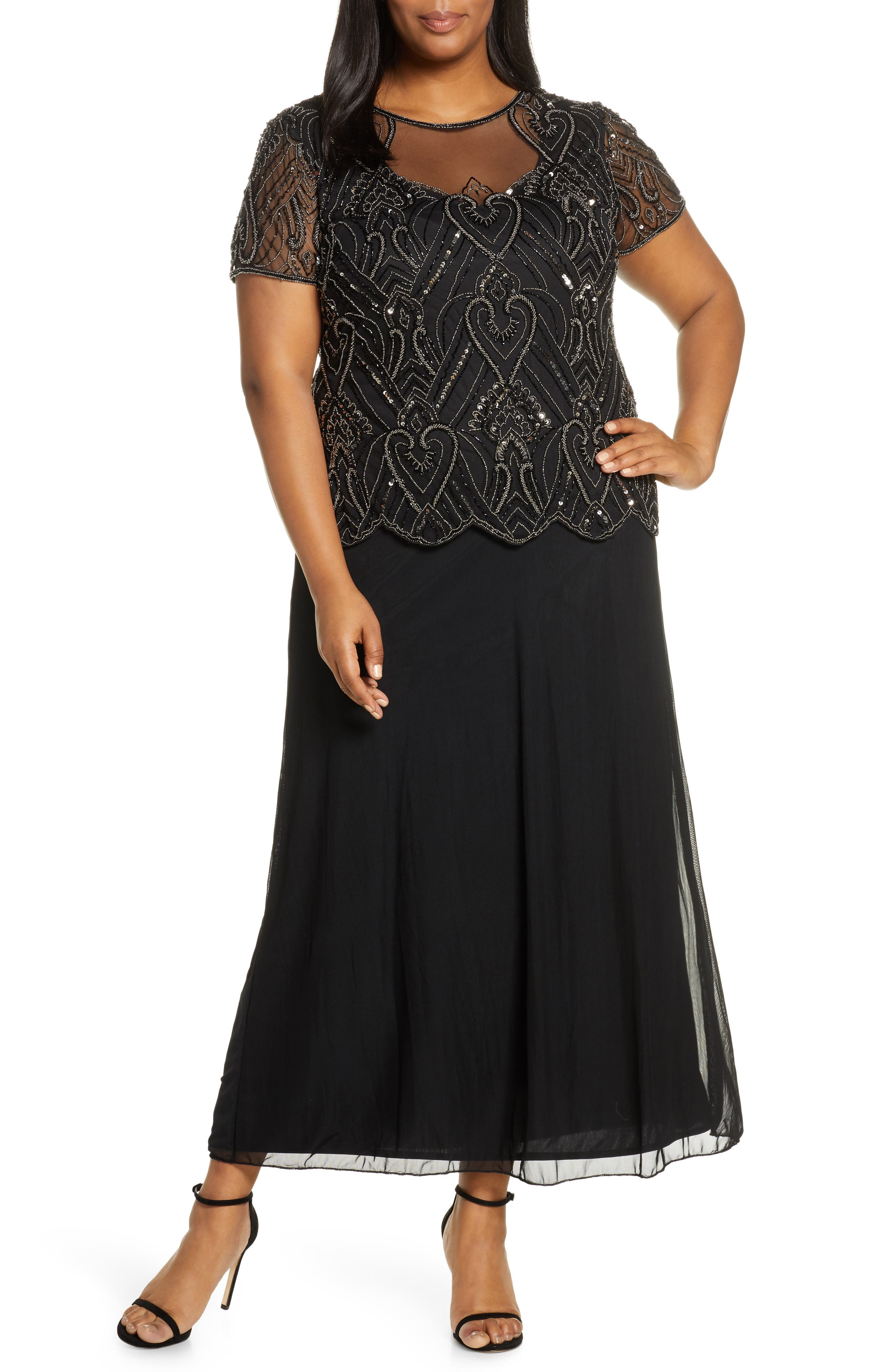 Vintage 1920s Dresses – Where to Buy Plus Size Womens Pisarro Nights Embellished Mesh Mock Two-Piece Gown Size 22W - Black $248.00 AT vintagedancer.com