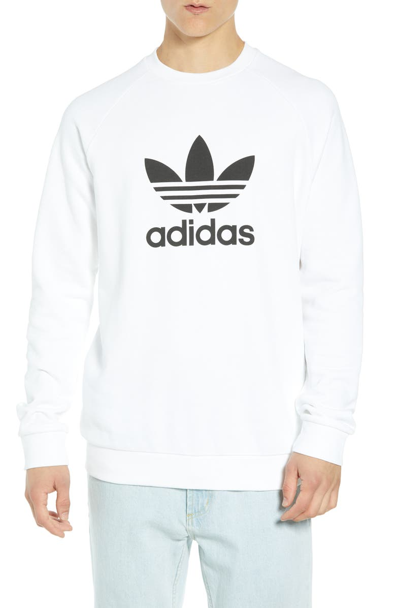 ADIDAS ORIGINALS Trefoil Sweatshirt, Main, color, WHITE