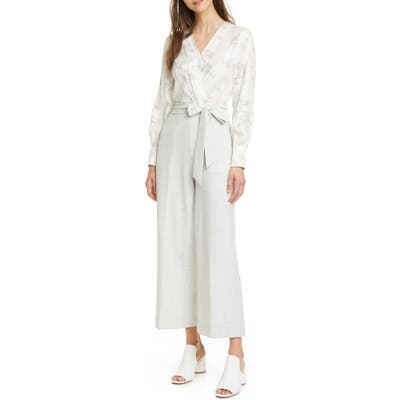 Tailored By Rebecca Taylor Floral Mixed Media Jumpsuit, Ivory