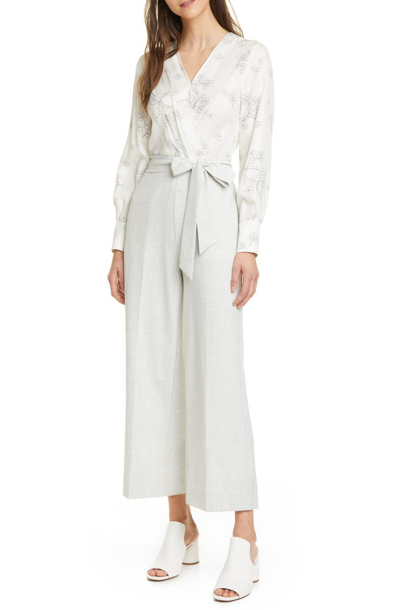 TAILORED BY REBECCA TAYLOR Floral Mixed Media Jumpsuit, Main, color, 900