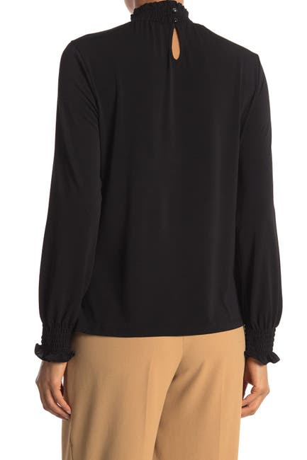 Image of Adrianna Papell Mock Neck Long Sleeve Crepe Top