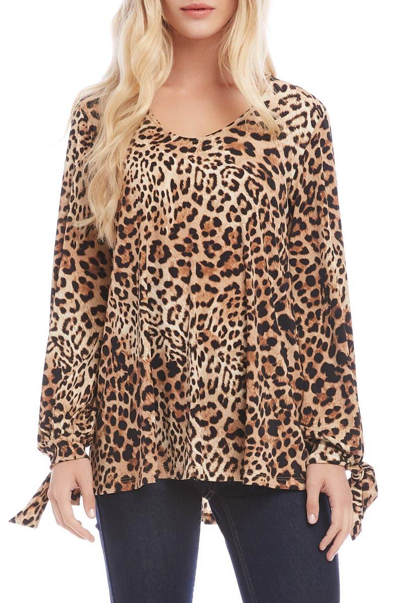 KAREN KANE Tie Sleeve Leopard Print Top, Main, color, LEOPARD