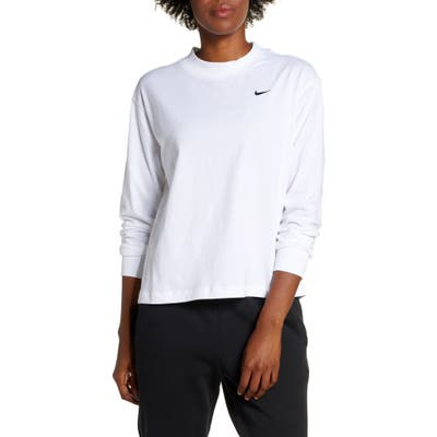 Nike Essential Mock Neck Long Sleeve Tee, White