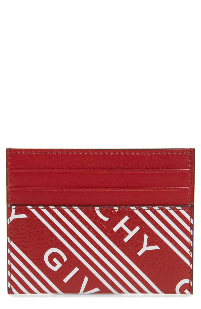 GIVENCHY Logo Band Leather Card Case, Main, color, VERMILLION