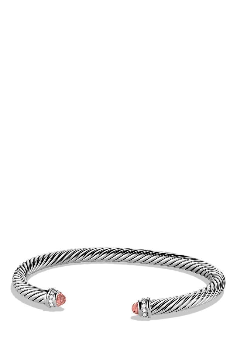 DAVID YURMAN Cable Classics Bracelet with Semiprecious Stones & Diamonds, 5mm, Main, color, MORGANITE