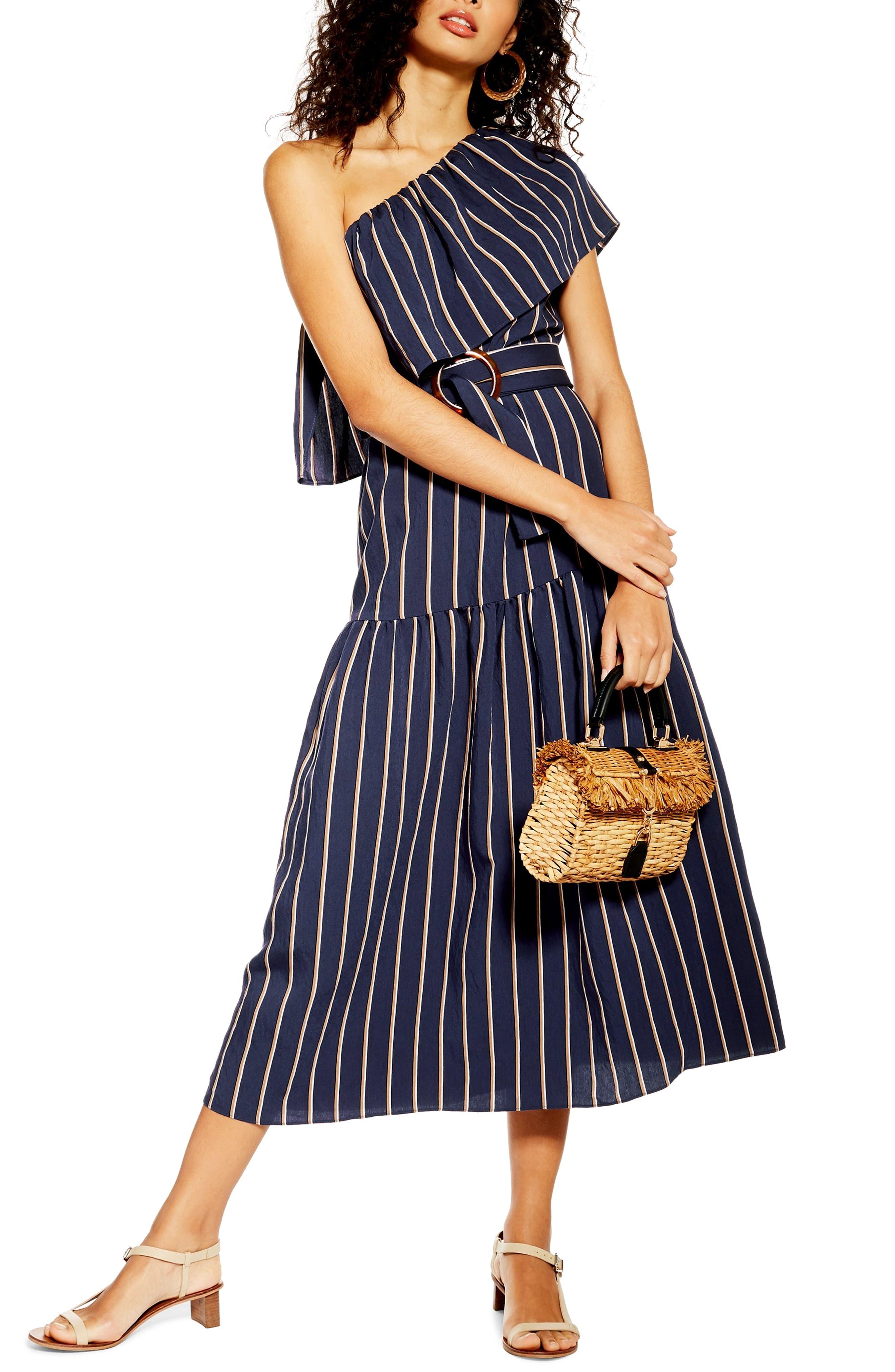 Topshop Sicily One-Shoulder Midi Dress, US (fits like 10-12) - Blue