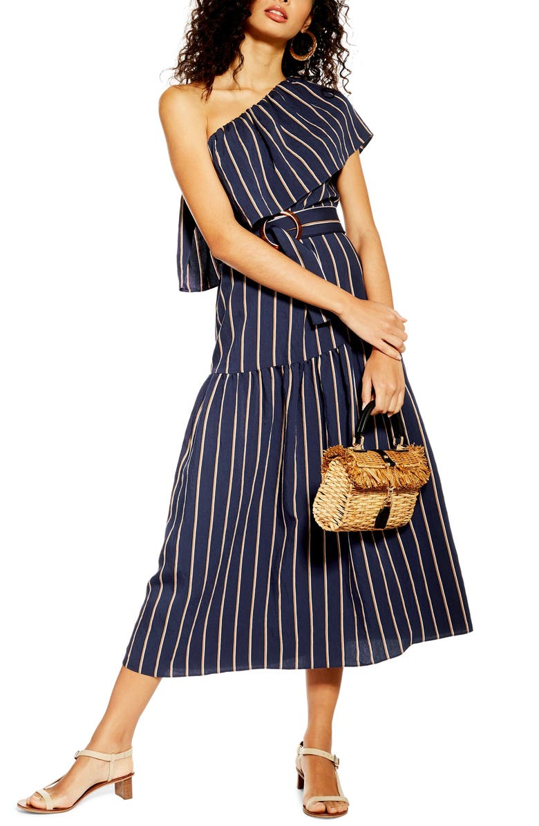 TOPSHOP Sicily One-Shoulder Midi Dress, Main, color, NAVY BLUE MULTI
