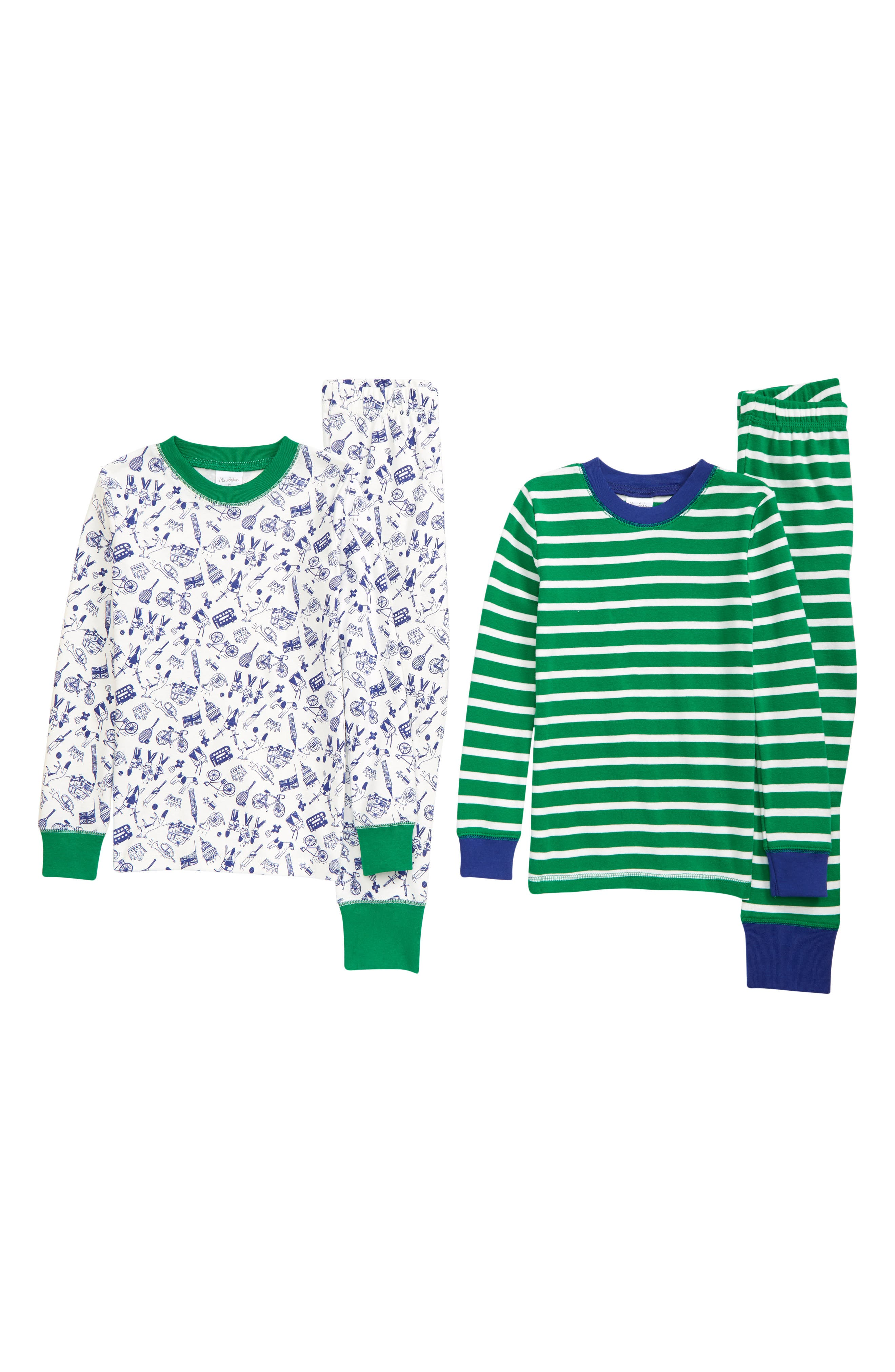 London-inspired graphics and bold stripes mix and match for cozy sleeping in a twin pack of two-piece cotton pajamas. Style Name: Mini Boden 2-Pack Fitted Two-Piece Pajamas (Toddler, Little Boy & Big Boy). Style Number: 6102231. Available in stores.