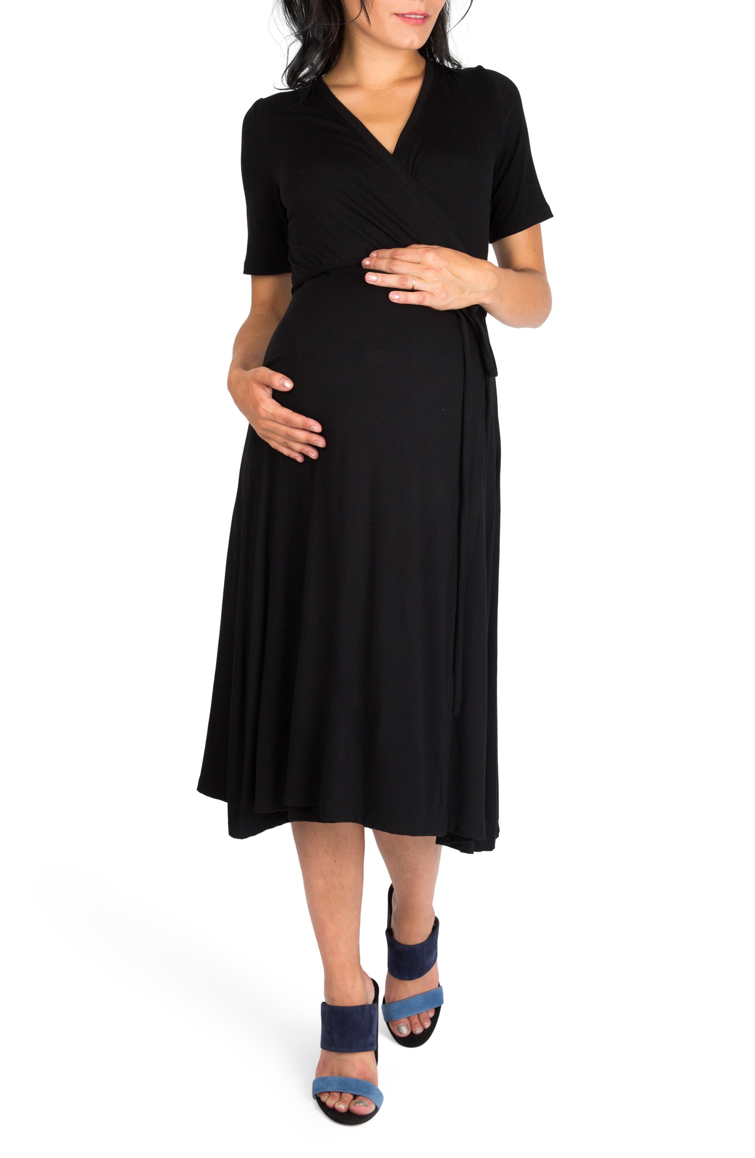 Nom Maternity Maya Wrap Maternity Dress, Black