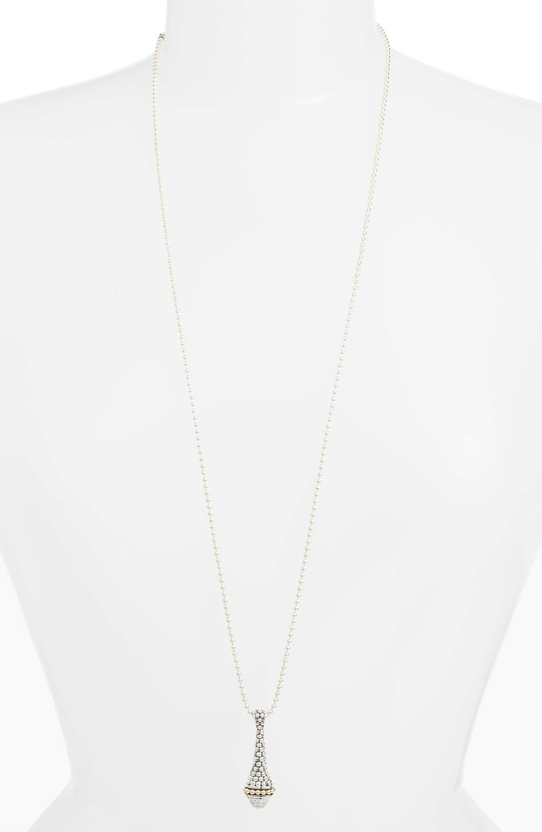 LAGOS Signature Caviar Long Diamond Pendant Necklace, Main, color, SILVER/ DIAMOND
