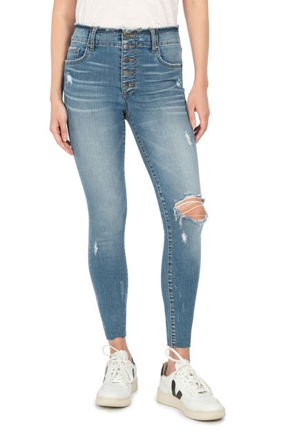 Kut From The Kloth CONNIE RIPPED EXPOSED BUTTON RAW HEM ANKLE SKINNY JEANS