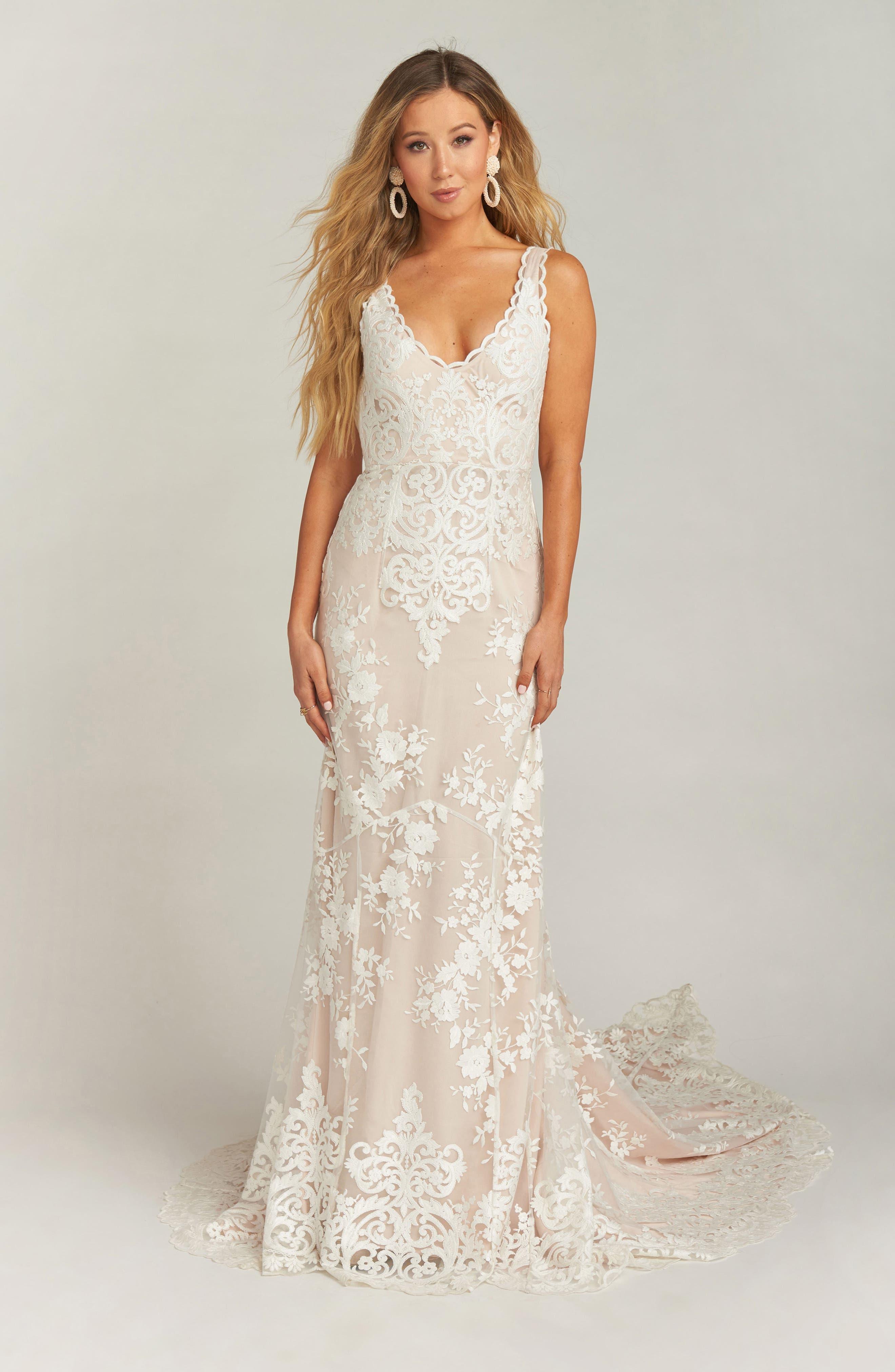 60s Wedding Dresses | 70s Wedding Dresses Womens Show Me Your Mumu Contessa V-Neck Lace Wedding Dress $1,195.00 AT vintagedancer.com