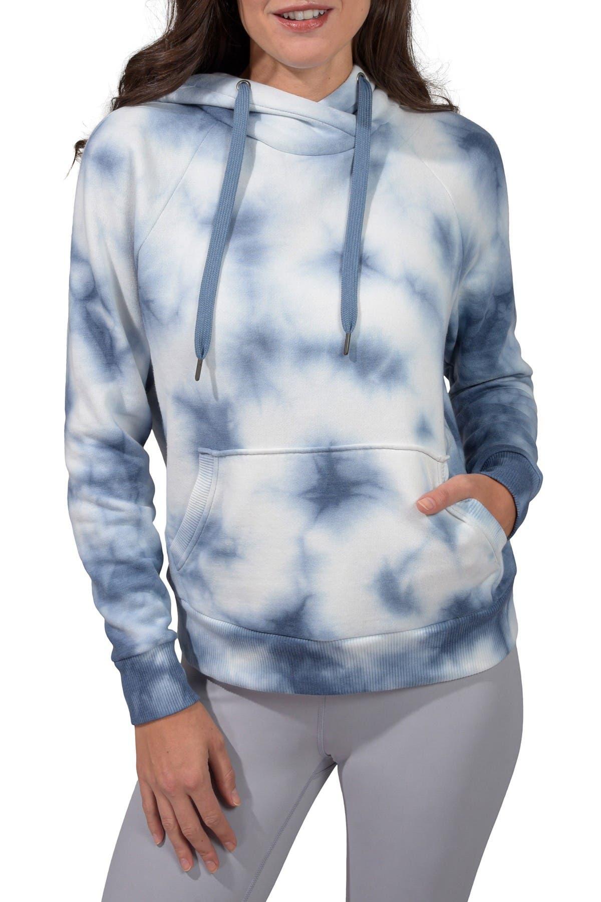 Image of 90 Degree By Reflex Brushed Knit Tie Dye Cross Neck Oversized Hoodie