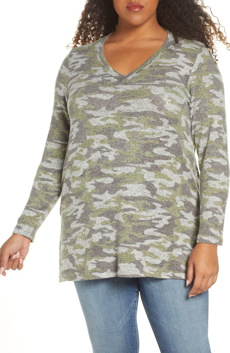 BOBEAU Cozy V-Neck Tunic, Main, color, 300
