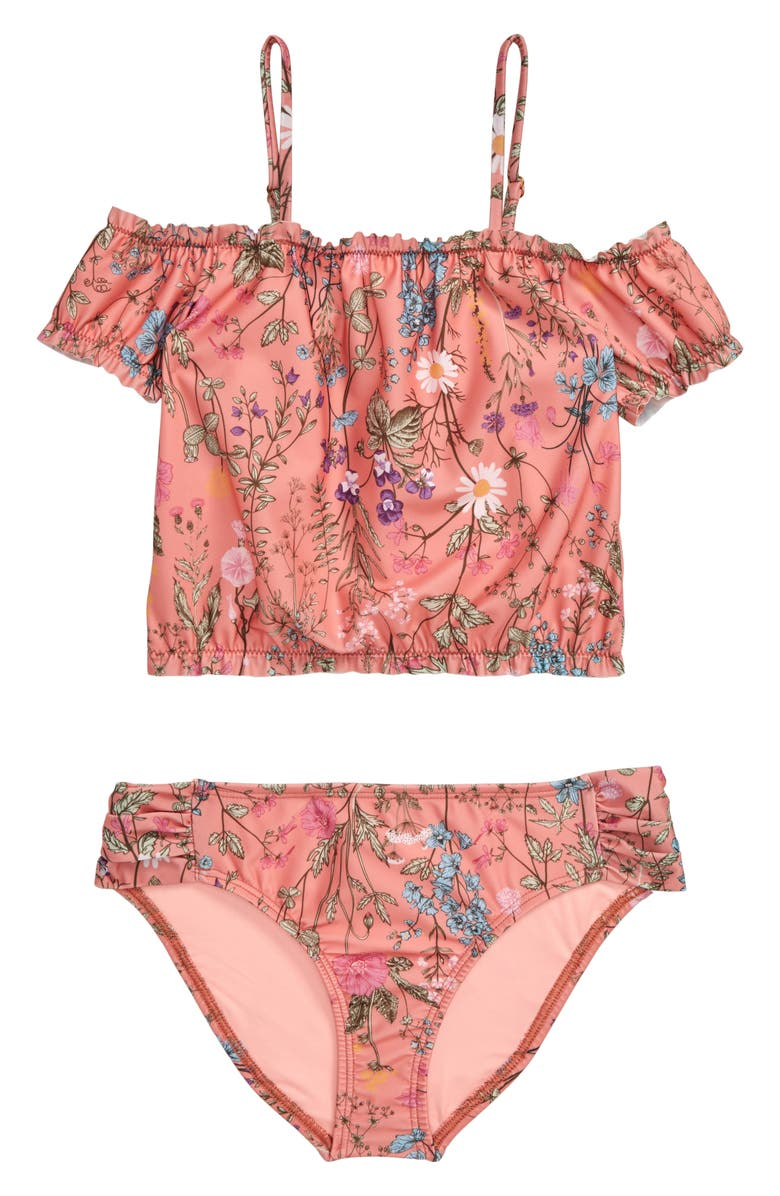 HEART AND HARMONY Botanical Two-Piece Swimsuit, Main, color, MOCHA
