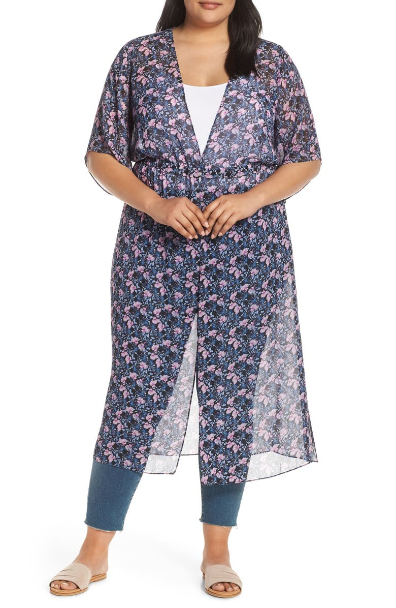 VINCE CAMUTO Charming Floral Chiffon Duster, Main, color, CLASSIC NAVY