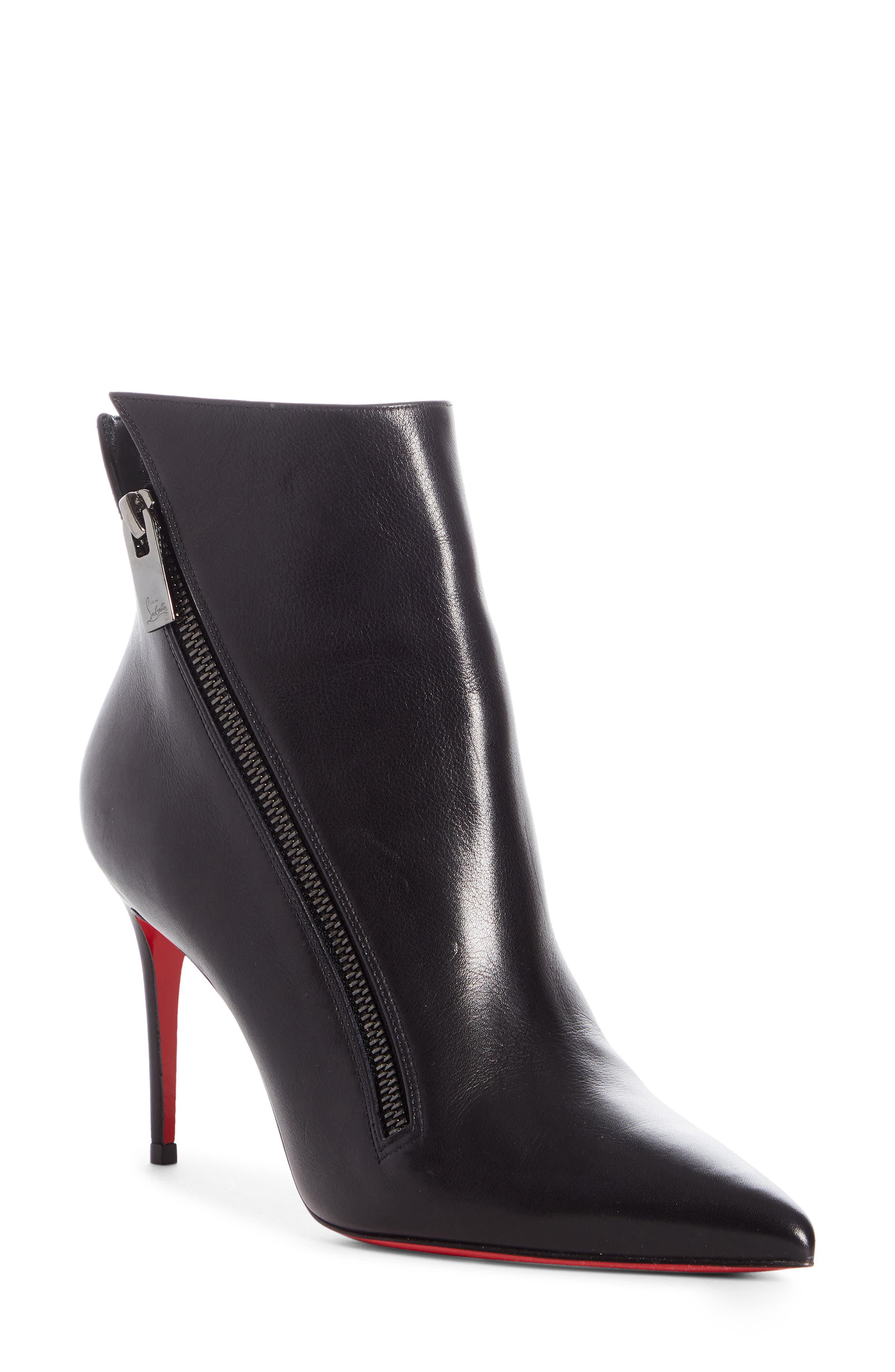 An angled zip adds a dash of edge to this pointed-toe bootie crafted from soft calfskin leather and set on a sky-high stiletto. Style Name: Christian Louboutin Birgikate Stiletto Bootie (Women). Style Number: 6006540. Available in stores.