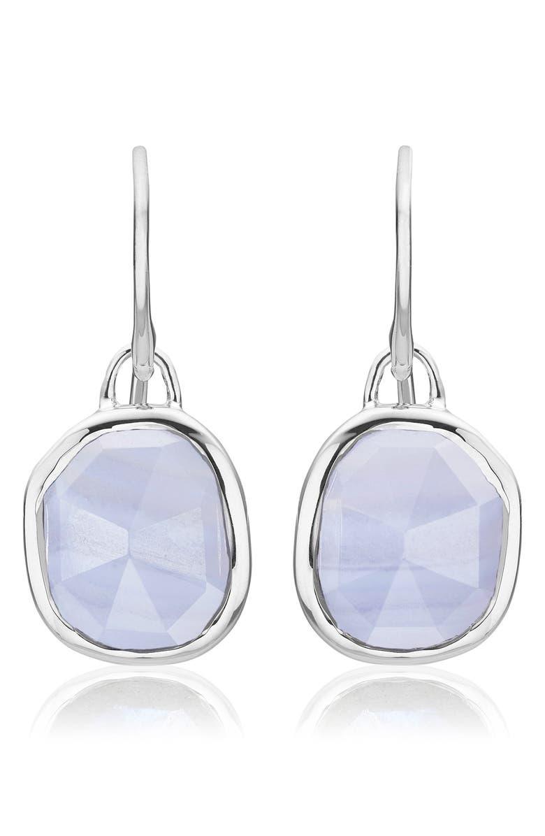 MONICA VINADER Siren Semiprecious Stone Drop Earrings, Main, color, SILVER/ BLUE LACE AGATE
