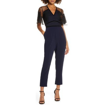 Harlyn Mesh Overlay Tapered Leg Jumpsuit, Blue