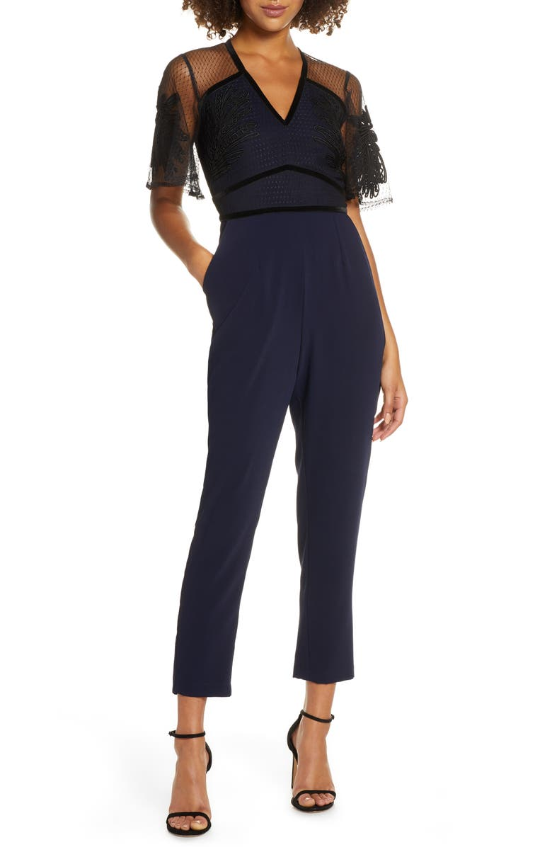HARLYN Mesh Overlay Tapered Leg Jumpsuit, Main, color, NAVY