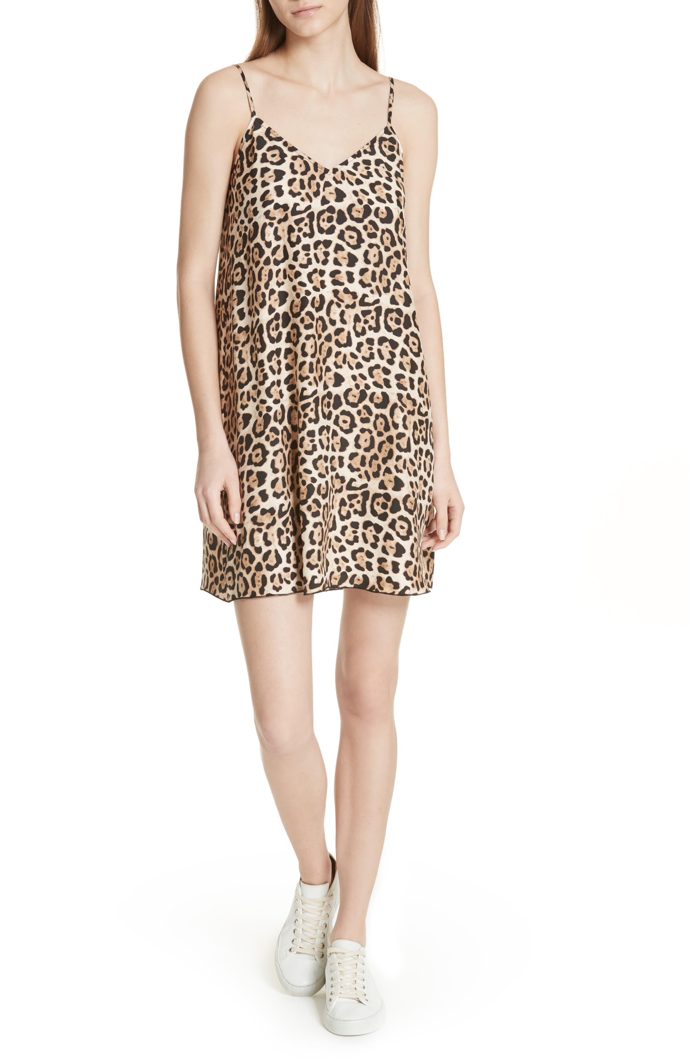 Atm Anthony Thomas Melillo Leopard Print Silk Slipdress, Brown