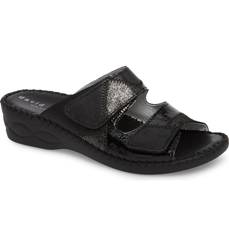 DAVID TATE Flex Slide Sandal, Main, color, BLACK LEATHER