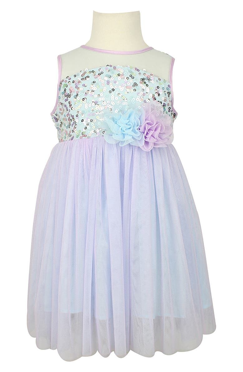 POPATU Sequin Illusion Tulle Party Dress, Main, color, MULTI BLUE